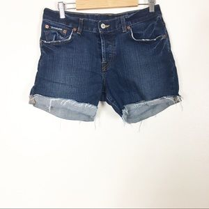 Lucky Brand Hidden Button Fly Cuffed Jean Shorts